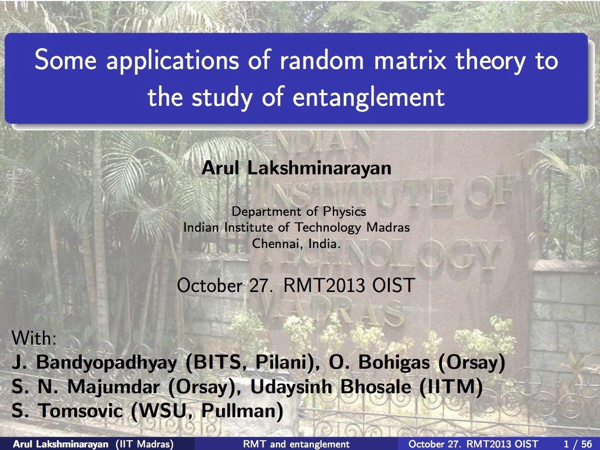 RMT2013 | OIST Groups