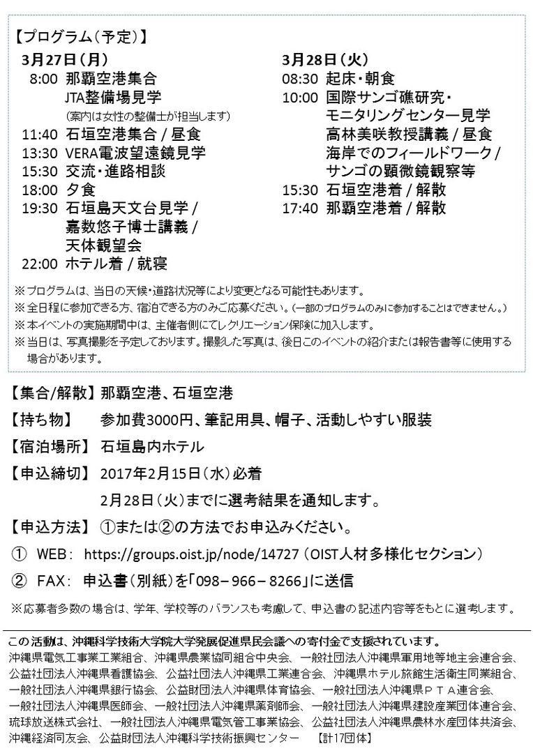 サイエンスプロジェクトfor琉球ガールズポスター裏