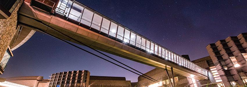Image of sky walk bridge in the night.
